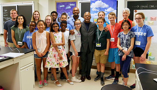 Dr. Henry Louis Gates Jr and Dr. Nina Jablonski with the Finding Your Roots campers.
