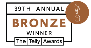 Logo that reads 39th Annual Telly Awards - Bronze Winner